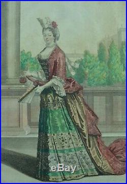 Gravure de mode 17e Portrait Comtesse d'Ayen Marquise de la Vallière H. Bonnart