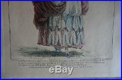 Gravure de mode à l'eau-forte rehaussée à la main gravé par Nicolas Dupin XVIII°