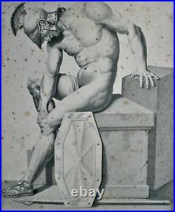 Gravure-ecole De David-marc Antoine Hervier-rare-anatomie-soldat Romain-portrait