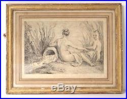 Gravure femmes nues baigneuses naïades source d'ap. Watteau XVIIIème siècle