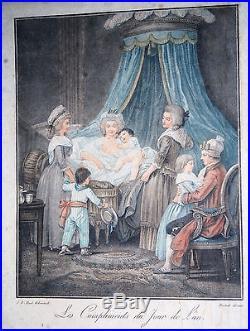 Gravure-jb Huet-bonnet-compliments-jour De L An-epoque Xviii-noblesse-2/2