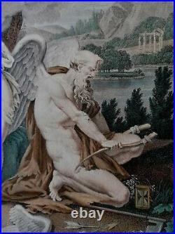 Gravure-mythologie-j. F. Cazenave-empire-neo Classique-chronos-eros-psyche