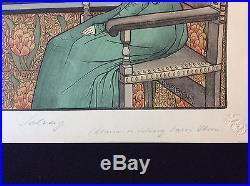 Gustave Max Stevens Femme pensive l'Estampe Moderne 1899 art nouveau