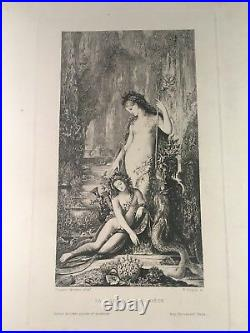 Gustave Moreau 1826-1898, rare gravure La Sirène et le Poète, vers 1890, TB