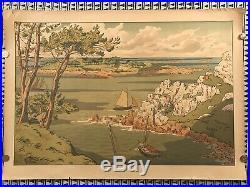 HENRI RIVIERE gravure lithographie bretonne bretagne marine 1900 Lîle