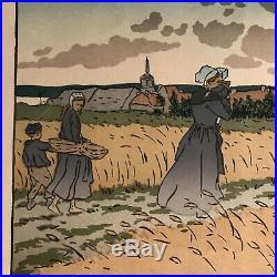 HENRI RIVIERE gravure lithographie bretonne bretagne marine perros guirec 1900