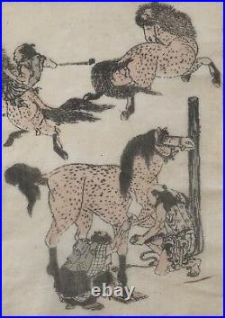 HOKUSAI (1760-1849) chevaux et Samouraï Japan cheval estampe originale 1817