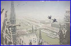 Henri RIVIERE (1864-1951) Tours de Notre-Dame 1900 Paysages Parisiens Lithogr