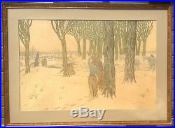 Henri Rivière, L'Hiver, lithographie, 100 x 73 cm