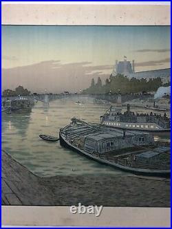 Henri Riviere Litho Le Pont De Saints Peres Et Le Louvre Eugene Verneau C2633