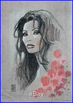 Hommage a Sophia Loren , Serigraphie de Milo Manara signée au crayon