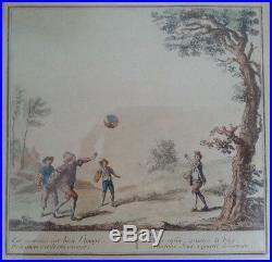 JOLIE ancienne GRAVURE LE BALON scène RARE selon TABLEAU N°9 du JEU DU JUIF