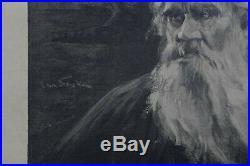 Jan STYKA (1858-1925) Portrait Léon Tolstoi estampe dédicace Lwow Pologne