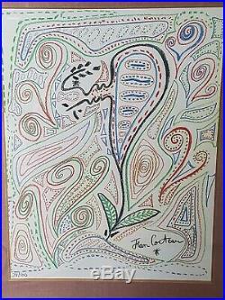 Jean Cocteau Lithographie Signée / numérotée 34/100 encadré Framed