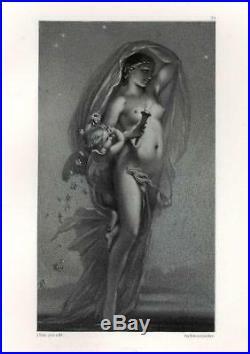 Joseph Félon Allégorie Aurore Nu Lithographie originale XIXe