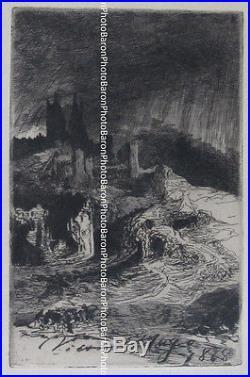 LES RUINES DU VIEUX CHATEAU (1868) gravure originale de Victor HUGO (1802-1885)