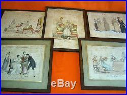 LE BON GENRE 5 estampes caricatures XIXeme Modes de Paris Gravure Taille-douce