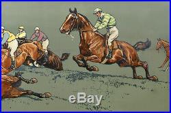 LITHOGRAPHIE ENCADREE, course de chevaux, K. Wagner
