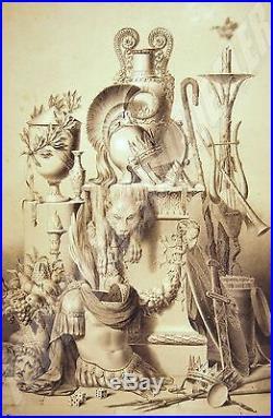 LITHOGRAPHIE ORNEMENT aux 2 crayons BILORDEAUX 1840 1870 vase casque torchère