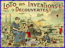 LOTO DES INVENTIONS ET DECOUVERTES Chromo-litho originale entoilée E. SERRE