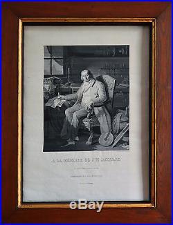 LYON COMPAGNONNAGE Exceptionnel portrait tissé en soie de Jacquard, 1839