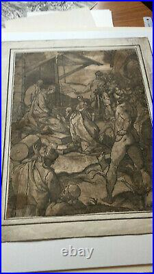 L'Adoration des Rois mages, gravure sur bois en clair obscur, Renaissance