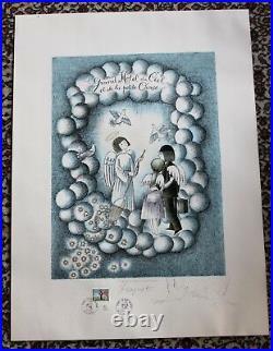 Les Amoureux de PEYNET RARE LITHOGRAPHIE ORIGINALE St Valentin signé avec DESSIN