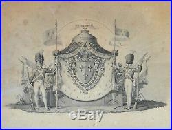 Les Grandes Armes de Louis XVIII Roi de France, gravure royaliste époque XIXe