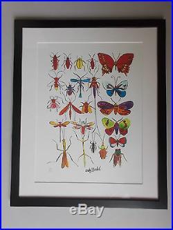 Lithographie, Andy Warhol, Série des Insectes & Papillons Tirage 1000 Ex