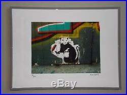 Lithographie Banksy Painter Rat Tirage 300 Ex Street Art Graffiti
