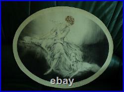 Lithographie Gravure Elegante aux deux Lévriers Louis Icart