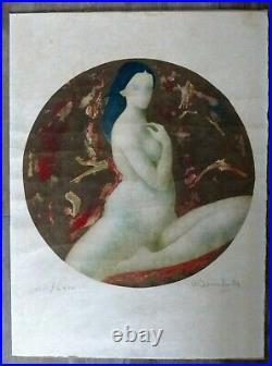 Lithographie Originale Alain BONNEFOIT Numérotée Nu 55 x 75 cm signée au crayon