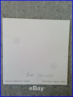 Lithographie Originale Carlos CRUZ-DIEZ (1923) Art Optique Carte De Voeux