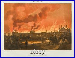 Lithographie de 1873. Incendie du Palais des Tuileries. Commune de Paris (1871)