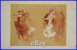 Lithographie originale Jules Chéret, La valse des brunes et des blondes, bal