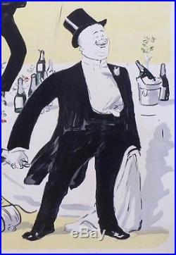 Lithographie originale de Sem, Fin de soirée chez Maxims, 1901
