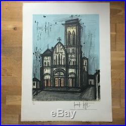Lithographie signée de Bernard Buffet représentant la Basilique de Vézelay