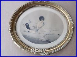 Louis Icart-Aquatinte-eau forte-Femme, Chat et la souris-art déco-cadre doré