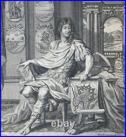 Louis XIV, portrait gravure Pierre Lepautre 1684, burin, Versailles 17ème siècle