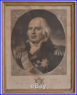 Louis XVIII portrait du Roi de France et de Navarre gravure