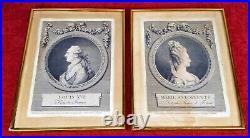 Louis XVI Et Marie Antoinette. M. L. A. Boizot. Gravure Sur Papier. France. 1775