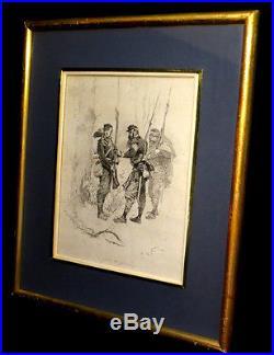 MILITARIA Gravure NEUVILLE (Alphonse Marie de) Au poste dangereux