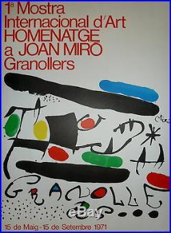 MIRO Joan Affiche en lithographie 1971 art abstrait abstraction surréalisme