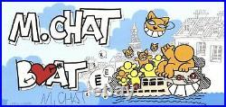 M. CHAT (Thoma Vuille) Lithographie Chat Boat é 10x20cm Signée / Numérotée