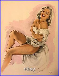 Magnifique Pin Up Aslan Marylin Monroe / Lithographie Couleurs