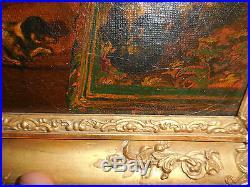 Magnifique peinture pompier signée d, un enfant jouets chiots ds encadrement d, or