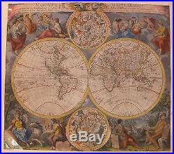 Mappemonde map of the world et hémisphères célestes XVIIIème siècle