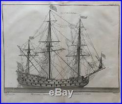 Marine Vaisseau De Guerre Avec Toutes Ses Manoeuvres Et Cordages Gravure XVIII
