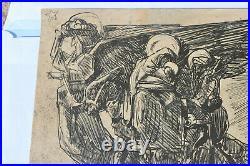 Mathurin Méheut Gravure sur Bois 1945 Dimension 16,5x12cm