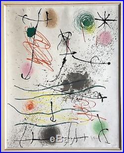 Miro Joan lithographie signée 1964 art abstrait abstract surréalisme sur japon